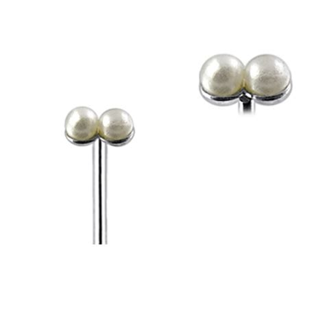 22g 925 Sterling Silver Double Pearl L Shape Nose Stud