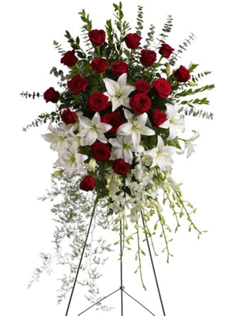 Red and White Standing Spray - Sympathy Flowers for the