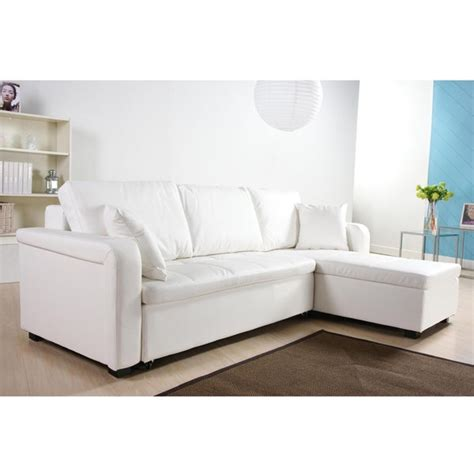 Charlotte White Faux Leather Convertible Sectional Sofa