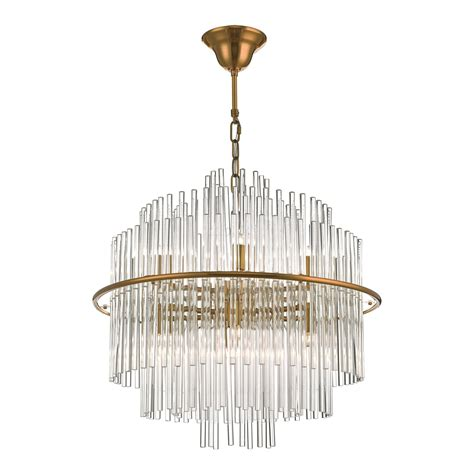 Lukas 13 Light Pendant Brushed Antique Gold And Clear Glass