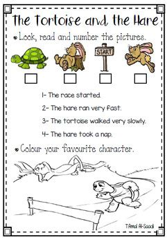 The Tortoise and The Hare Worksheet-Free by TeacherHope   TpT
