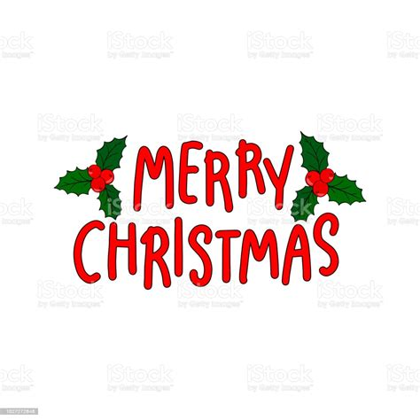 Merry Christmas And New Year Holiday Calligraphy Phrase On
